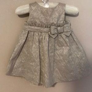 Baby Gap 3/6 month metallic dress beige & silver